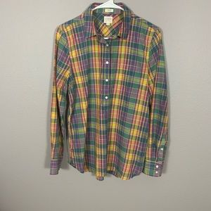 J. Crew Green Plaid Boy Fit Popover Shirt
